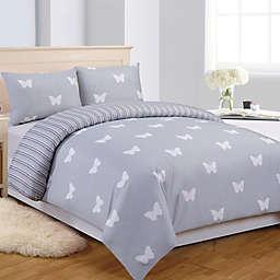LaLa + Bash Wink Butterflies Reversible Comforter Set in Grey