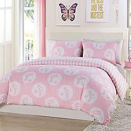 Lala + Bash Plie Dots Reversible Comforter Set in Pink