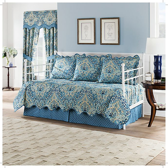 Alternate image 1 for Waverly Moonlit Shadows Reversible Daybed Quilt Set in Lapis