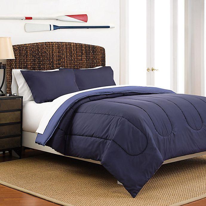 Alternate image 1 for Martex 2-Tone Reversible Full/Queen Comforter Set in Navy/Blue