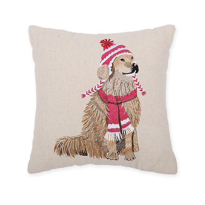 Alternate image 1 for Cozy Shop Lab in Hat and Scarf Throw Pillow