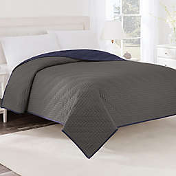 Martex® Two-Tone Twin Coverlet in Graphite/Navy