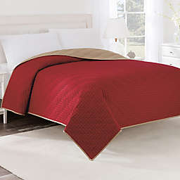 Martex® Two-Tone Twin Coverlet in Khaki/Red