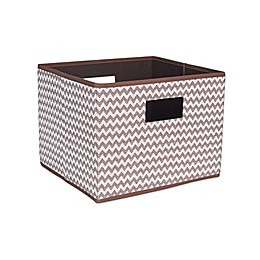 Household Essentials® Open Storage Bin with Cutout Handles in Brown Chevron
