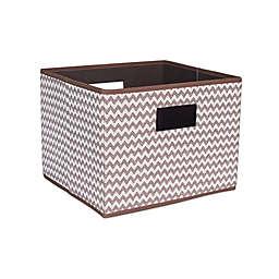Household Essentials® Open Storage Bin with Cutout Handles in Brown Chevron
