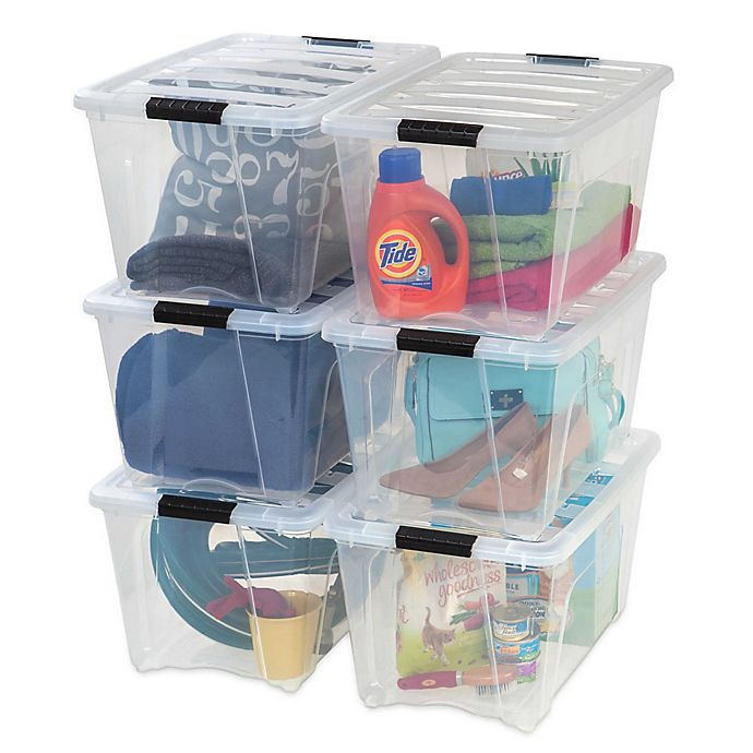 Alternate image 1 for IRIS® Stack & Pull™ Plastic Latch Boxes (Set of 6)