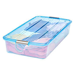 IRIS® 51 qt. Buckle-Up Box in Transparent Blue (Set of 6)