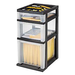 IRIS® 3-Drawer Filing Cart with Organizer Top in Black