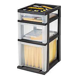 IRIS® 3-Drawer Filing Cart with Organizer Top in Black