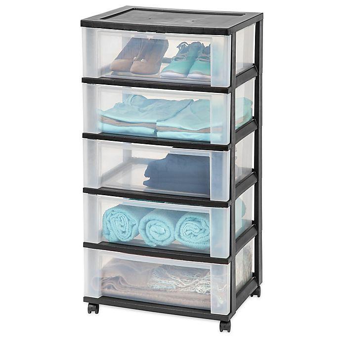Iris 5 Drawer Wide Storage Cart In Black