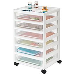 IRIS® 6-Drawer Scrapbook Cart with Organizer in White