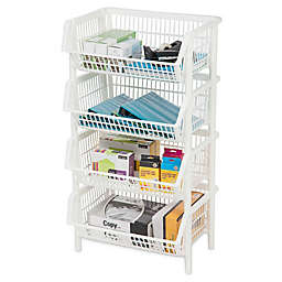 IRIS® Jumbo Stacking Basket in White (Set of 4)