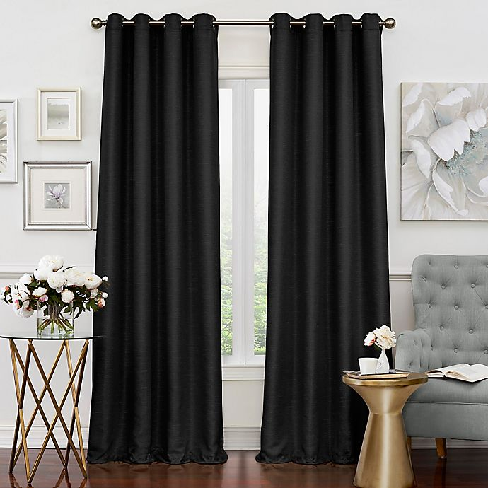 Alternate image 1 for Eclipse Luxor 108-Inch Grommet Room Darkening Window Curtain Panel in Black