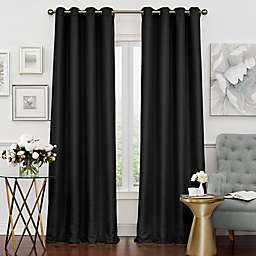 Eclipse Luxor 108-Inch Grommet Room Darkening Window Curtain Panel in Black