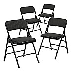 Flash Furniture Fabric 4-Pack Folding Chair in Black
