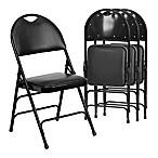 Flash Furniture Vinyl 4-Pack Folding Chair in Black