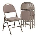 Flash Furniture Fabric 4-Pack Folding Chair in Beige