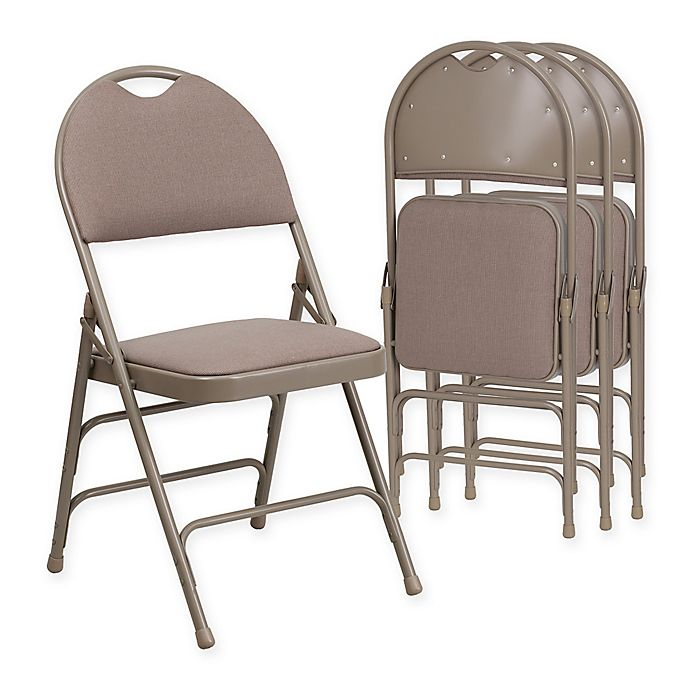 Alternate image 1 for Flash Furniture Fabric 4-Pack Folding Chair in Beige
