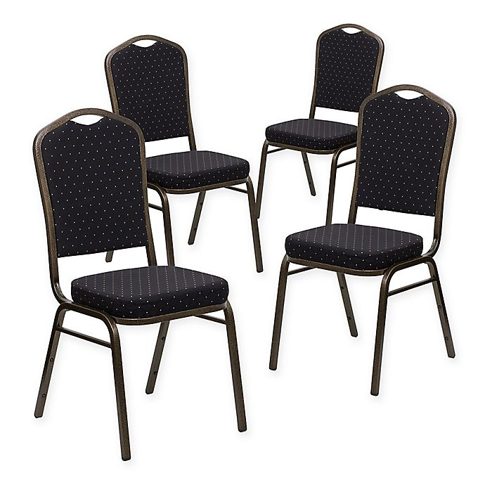 Alternate image 1 for Flash Furniture HERCULES Fabric Banquet Chairs in Black/Gold (Set of 4)