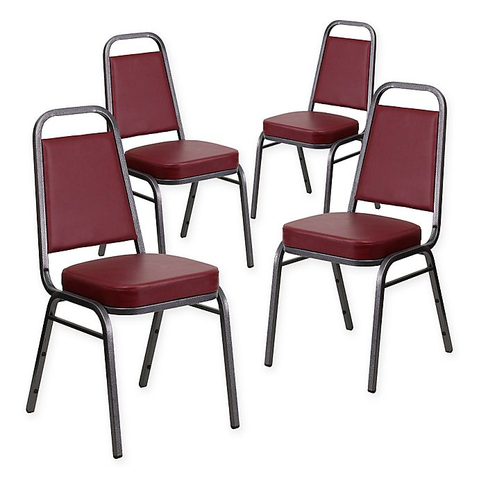 Alternate image 1 for Flash Furniture Hercules Banquet Chair in Silver/Burgundy Vinyl (Set of 4)