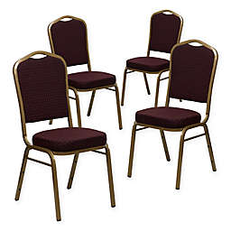 Flash Furniture HERCULES Banquet Chairs in Patterned Burgundy/Gold (Set of 4)