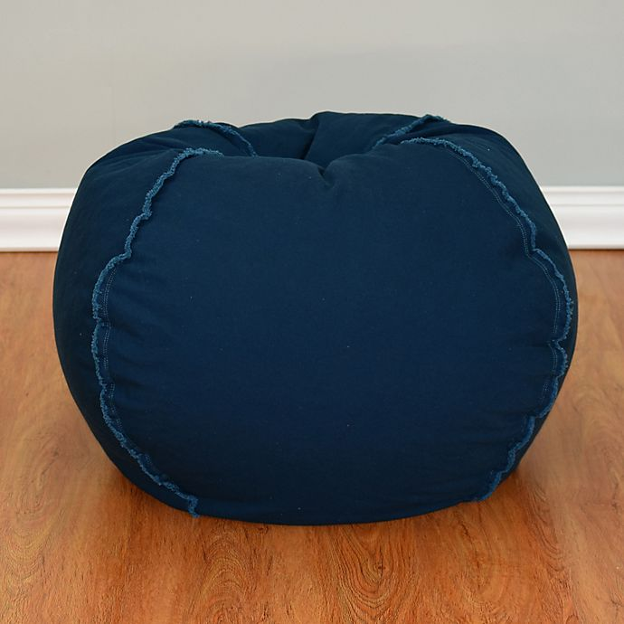 Alternate image 1 for Large Canvas Bean Bag Chair with Exposed Seams in Peacock Blue