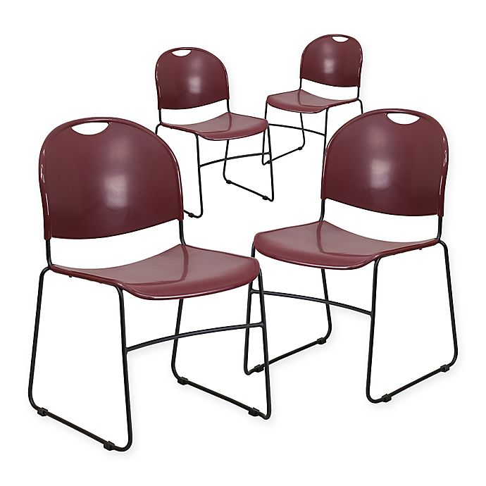 Alternate image 1 for Flash Furniture Plastic Stack Chair in Burgundy (Set of 4)