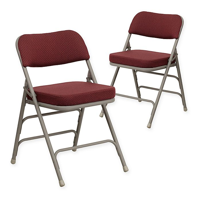 Alternate image 1 for Flash Furniture Hercules Padded Folding Chairs in Burgundy/Grey (Set of 2)