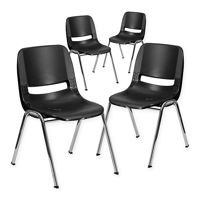 Alternate image 1 for Flash Furniture 18-Inch Plastic Stack Chairs in Black (Set of 4)