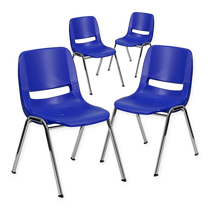 Alternate image 1 for Flash Furniture 18-Inch Plastic Stack Chairs in Blue (Set of 4)