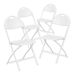Flash Furniture Plastic Fan Back Folding Chairs in White (Set of 4)