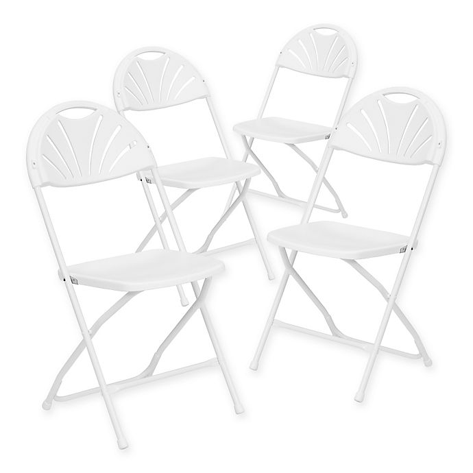 Alternate image 1 for Flash Furniture Plastic Fan Back Folding Chairs in White (Set of 4)
