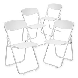 Flash Furniture Plastic Folding Chairs in White (Set of 4)
