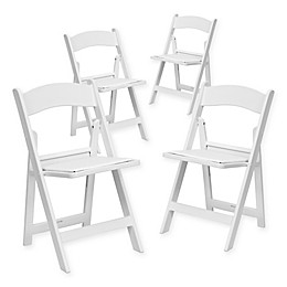 Flash Furniture Hercules Resin Folding Chairs in White (Set of 4)