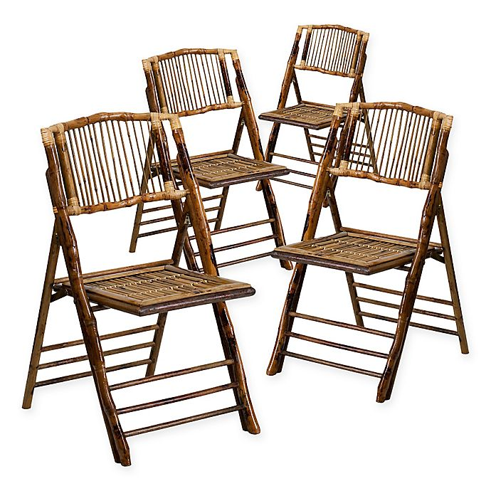 Alternate image 1 for Flash Furniture Bamboo American Champion Folding Chairs in Brown (Set of 4)