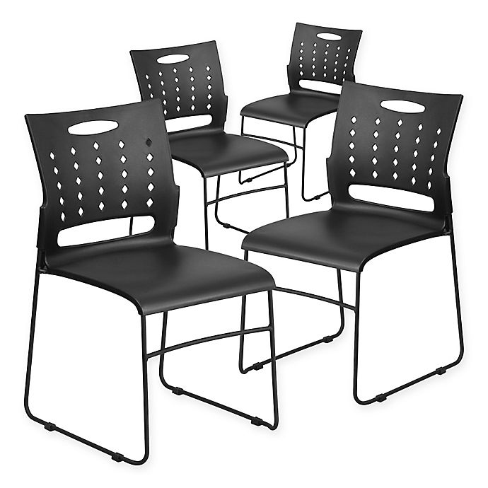 Alternate image 1 for Flash Furniture Vented Stack Chair 4-Pack in Black