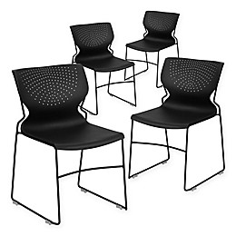 Flash Furniture Plastic Deep-Curve Stack Chairs in Black (Set of 4)