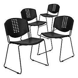 Flash Furniture Plastic Textured Stack Chairs in Black (Set of 4)