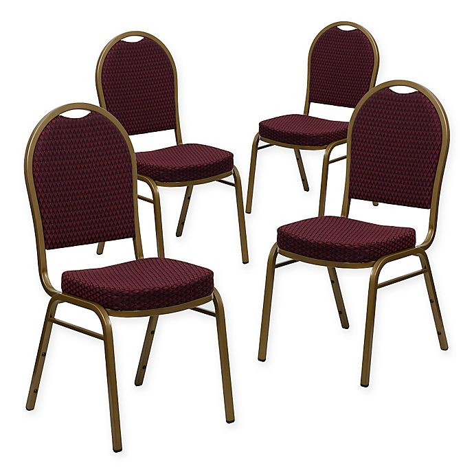 Alternate image 1 for Flash Furniture Hercules 4-Piece Banquet Chair in Burgundy/Gold