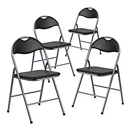 Flash Furniture Metal Folding Chairs in Black/Silver (Set of 4)