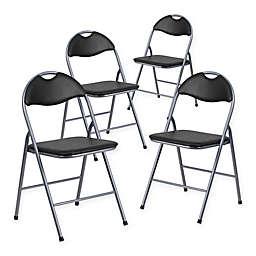 Flash Furniture Metal Folding Chairs in Black/Silver (Set of 4)