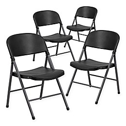 Flash Furniture Black & Grey 4-Pack Plastic Folding Chair