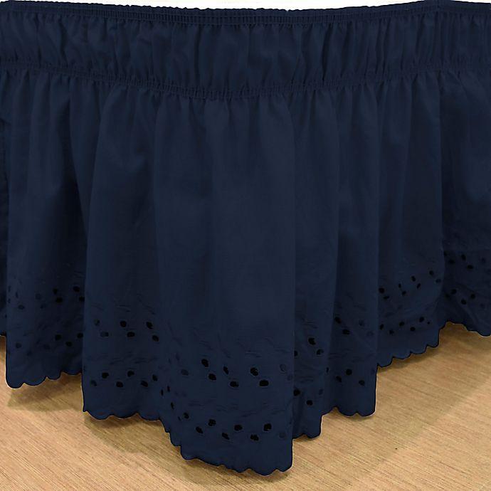 Alternate image 1 for EasyFit™ Eyelet Queen/King Ruffled Bed Skirt in Navy
