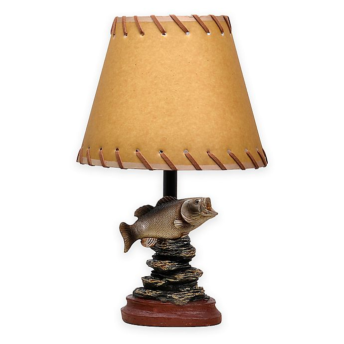 Alternate image 1 for Bass/Fish Theme Accent Lamp with Oiled Paper Shade