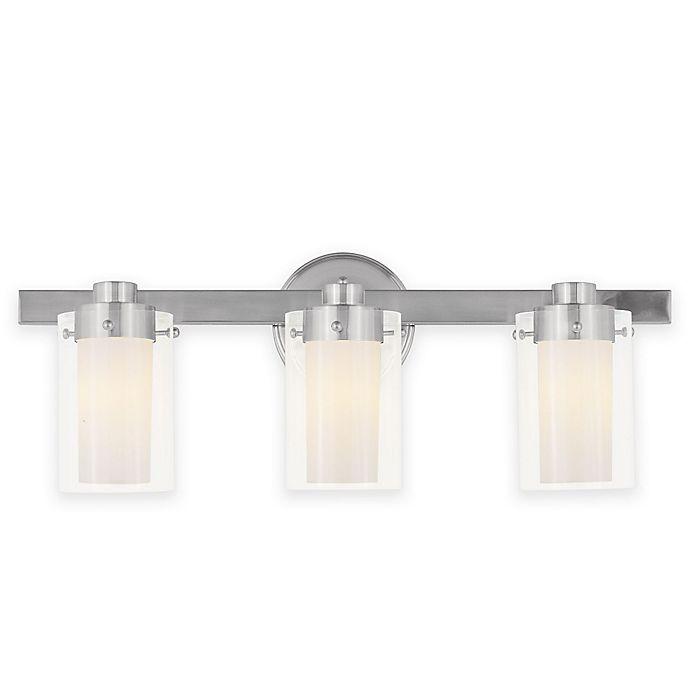 Alternate image 1 for Livex Lighting Manhattan Bathroom Fixture in Brushed Nickel