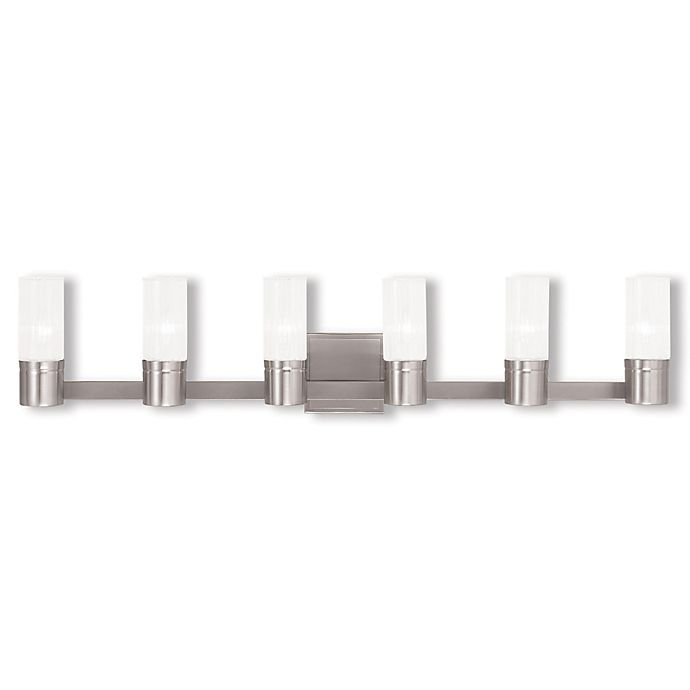 Alternate image 1 for Livex Lighting® Midtown 6-Light Wall Bathroom Fixture in Brushed Nickel with Glass Shades