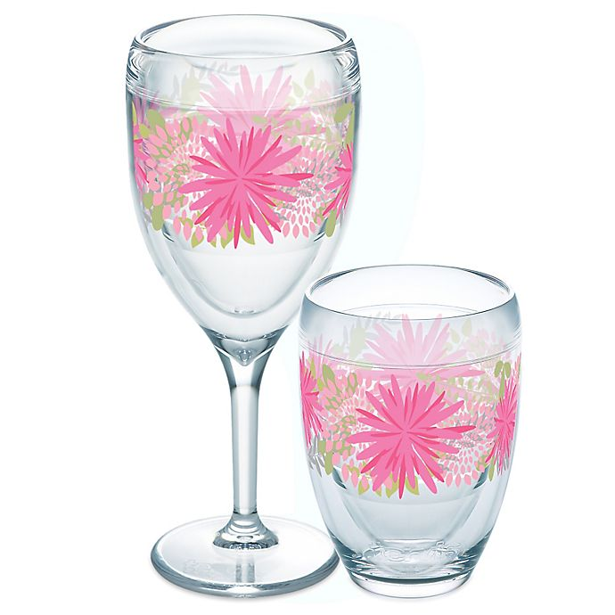 Alternate image 1 for Tervis® Pink Mums Wrap Wine Glass