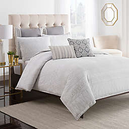 Cupcakes and Cashmere Moroccan Geo Duvet Cover in White