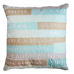 Beach Rules Square Throw Pillow in Blue