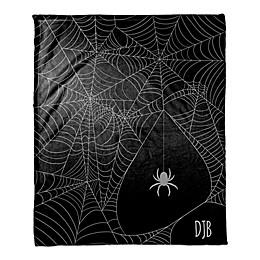 Halloween Spider Webs Throw Blanket in Purple/Black